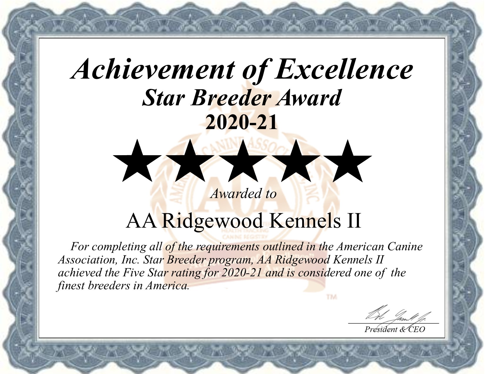 AA, Ridgewood, Kennels, II, dog, breeder, certificate, aa-ridgewood-kennels-ii, dog-breeder, kinzer, gap, shrewsbury, pa, pennsylvania, elizabethtown, usda, puppy, puppies, ACA, ICA, star, 5-star, ridge, wood, kennel, puppy, mill, puppymill