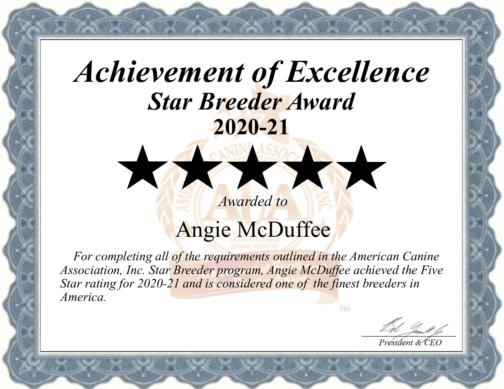 angie, mcduffee, dog, breeder, certificate, angie-mcduffee, dog-breeder, crushing, mn, minnesota, puppy, dog, kennels, mill, puppymill, usda, 5-star, ACA, ICA, registered, show handler, Yorkshire, Terrier, 41-A-0484, 41A0484