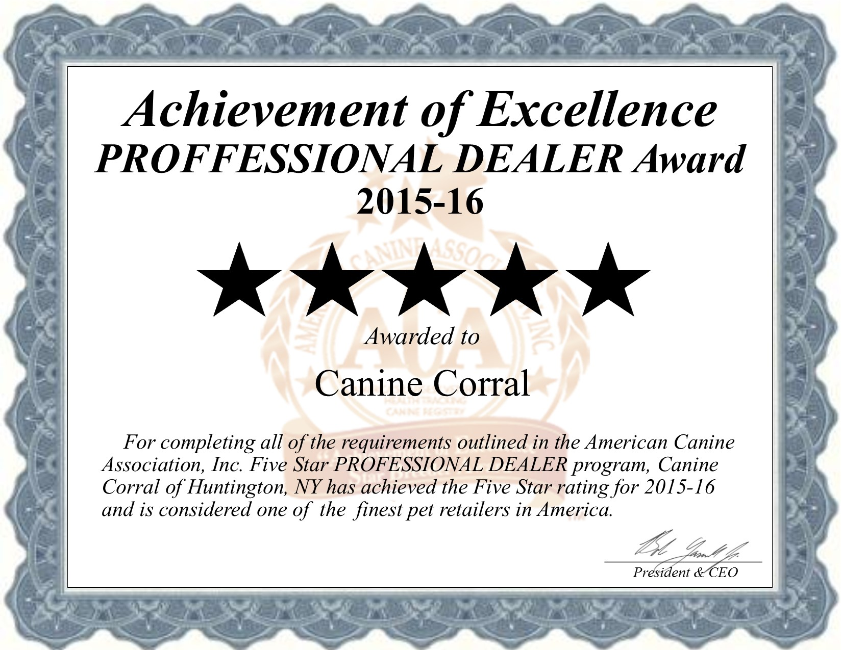 canine, corral, canine-corral, credetials, huntington, ny, new, york, pet, store, pet-store, long, island, longisland, star, retailer, certificate, puppy, mill, puppymill, five, star, retailer, professional, dealer