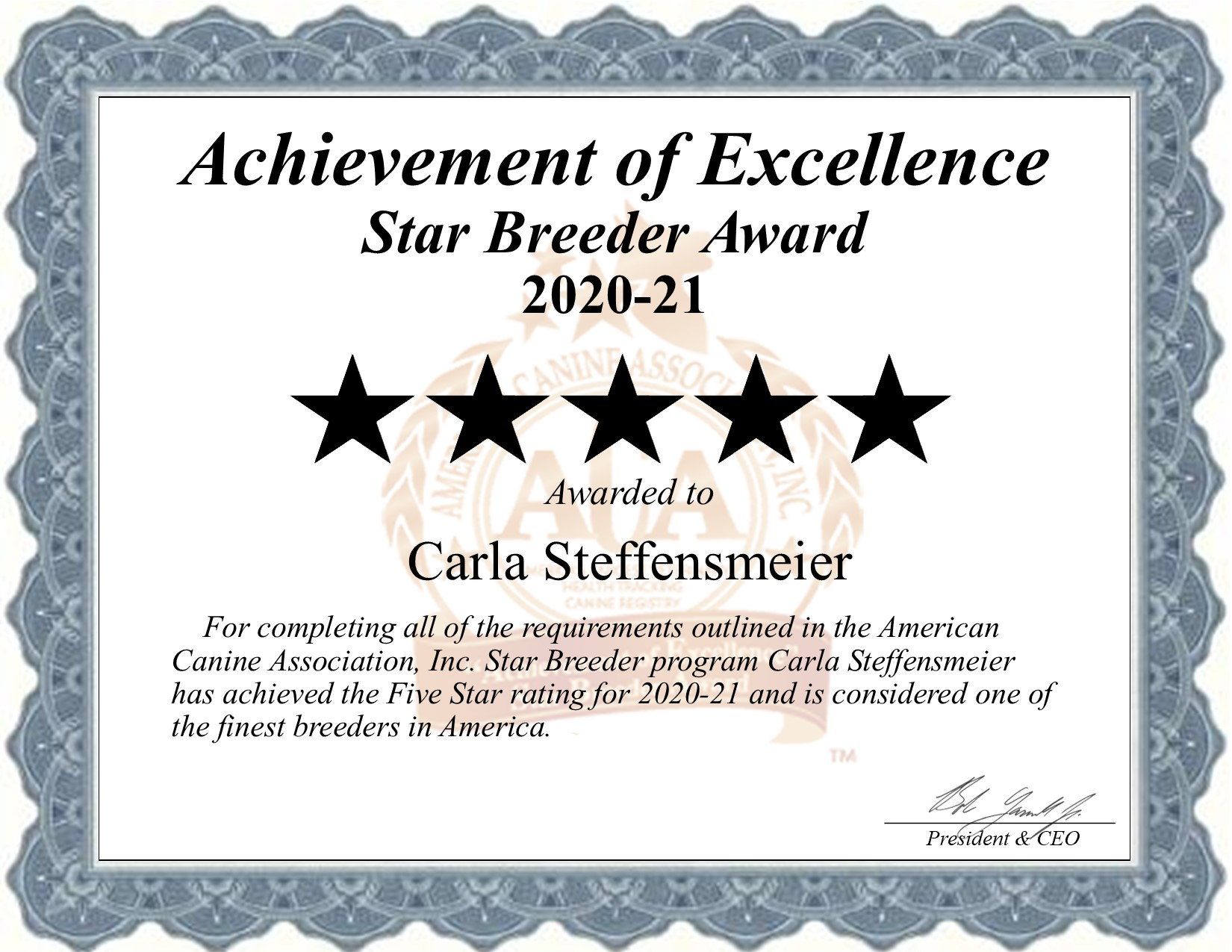 Carla, Steffensmeier, dog, breeder, star, certificate, Carla-Steffensmeier, West Point, IA, Iowa, puppy, dog, kennels, mill, puppymill, usda, 5-star, aca, ica, registered, golden-retriever, 42-a-1368