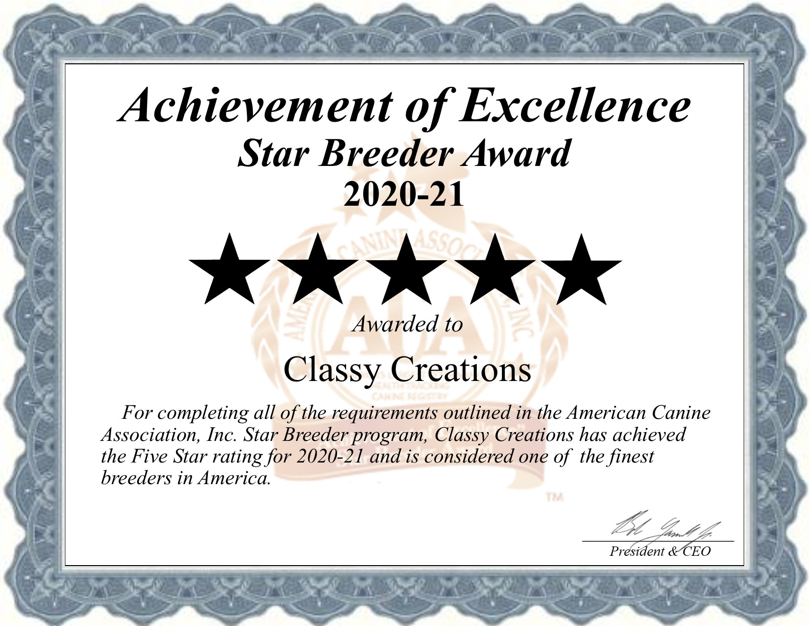 Classy, Creations Kennels, dog, breeder, star, certificate, Classy-Creations Kennels, Lyons, NY, New York, puppy, dog, kennels, mill, puppymill, usda, 5-star, ACA, ICA, registered, show handler, Yorkie, 21-A-0160, 21A0160