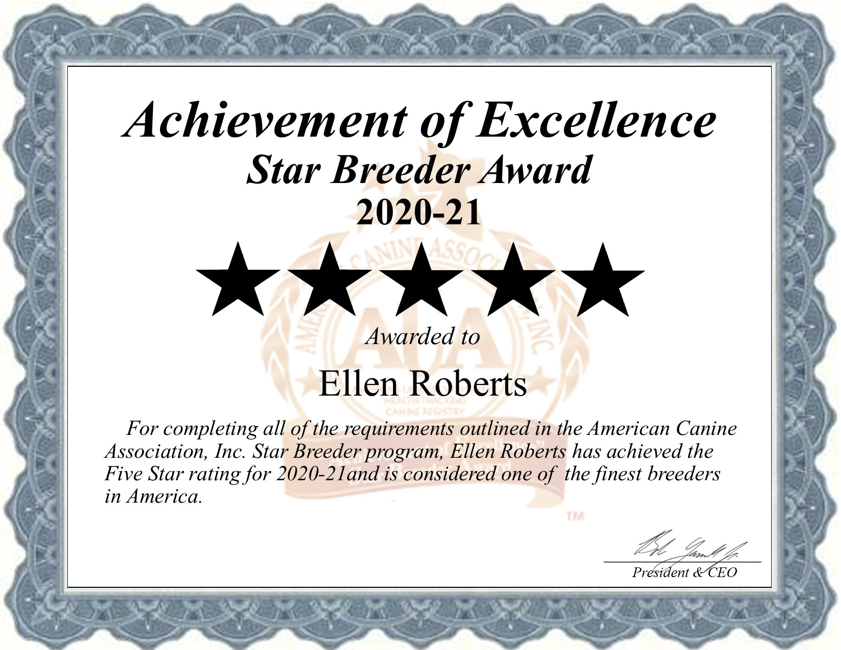Ellen, Roberts, dog, breeder, star, certificate, Ellen-Roberts, White Plains, MO, Missouri, puppy, dog, kennels, mill, puppymill, usda, 5-star, aca, ica, registered, yorkie, 43-A-5445