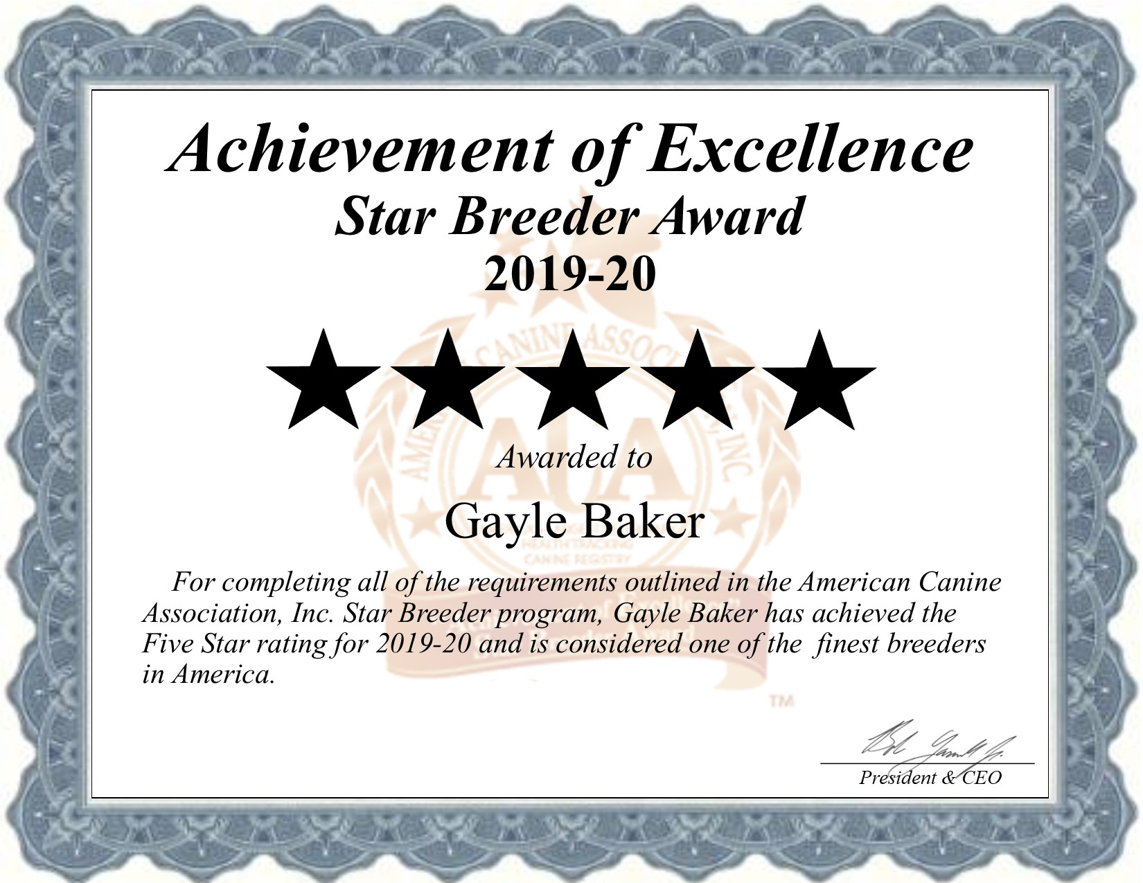 gayle, baker, dog, breeder, certificate, minneapolis, ks, kansas, gayle-baker, dog-breeder, dogbreeder, kennel, reviews, customer, star, starbreeder, 5, five, USDA, puppy, puppies, ACA, inspection, inspections, reports, mill, puppymill, mills