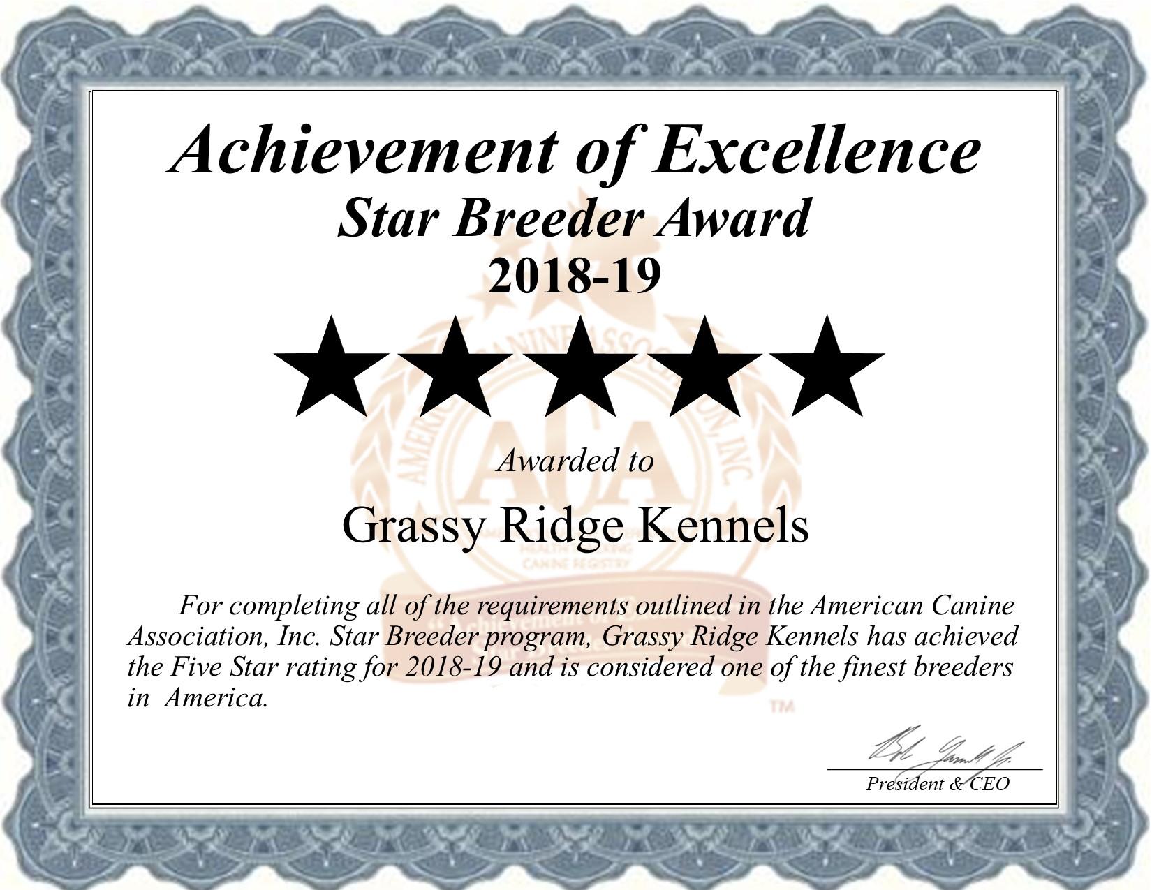 grassy, ridge, kennels, certificate , grassy-ridge, kennel, dog-breeder, kokomo, ms, mississipps, usda, puppy, puppies, ACA, ICA