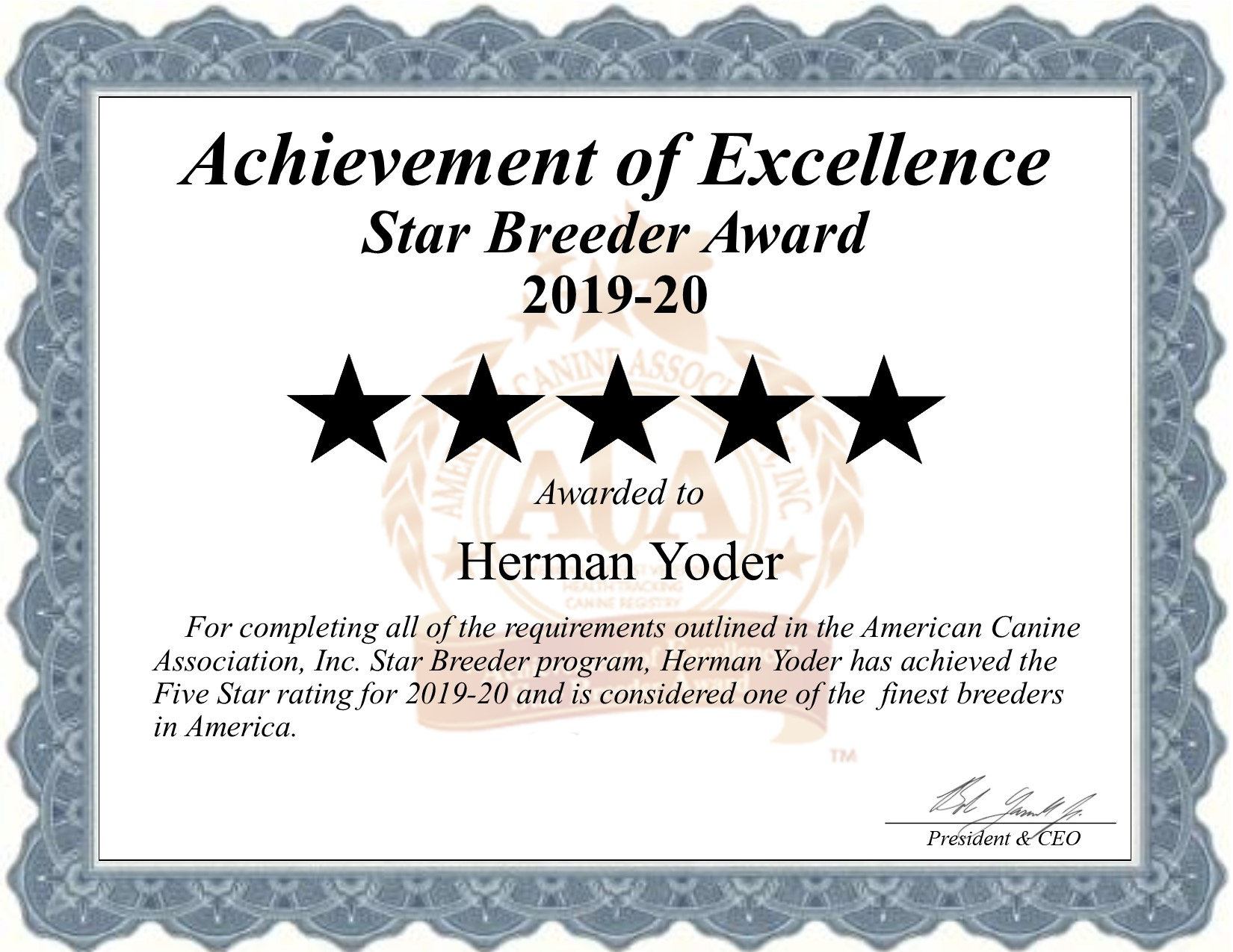 herman, yoder, dog, breeder, certificate, hermam-yoder, dog-breeder, star, award, hersey, mi, michigan, puppies, dog, starbreeder, dogbreeder, puppy, usda, kennels