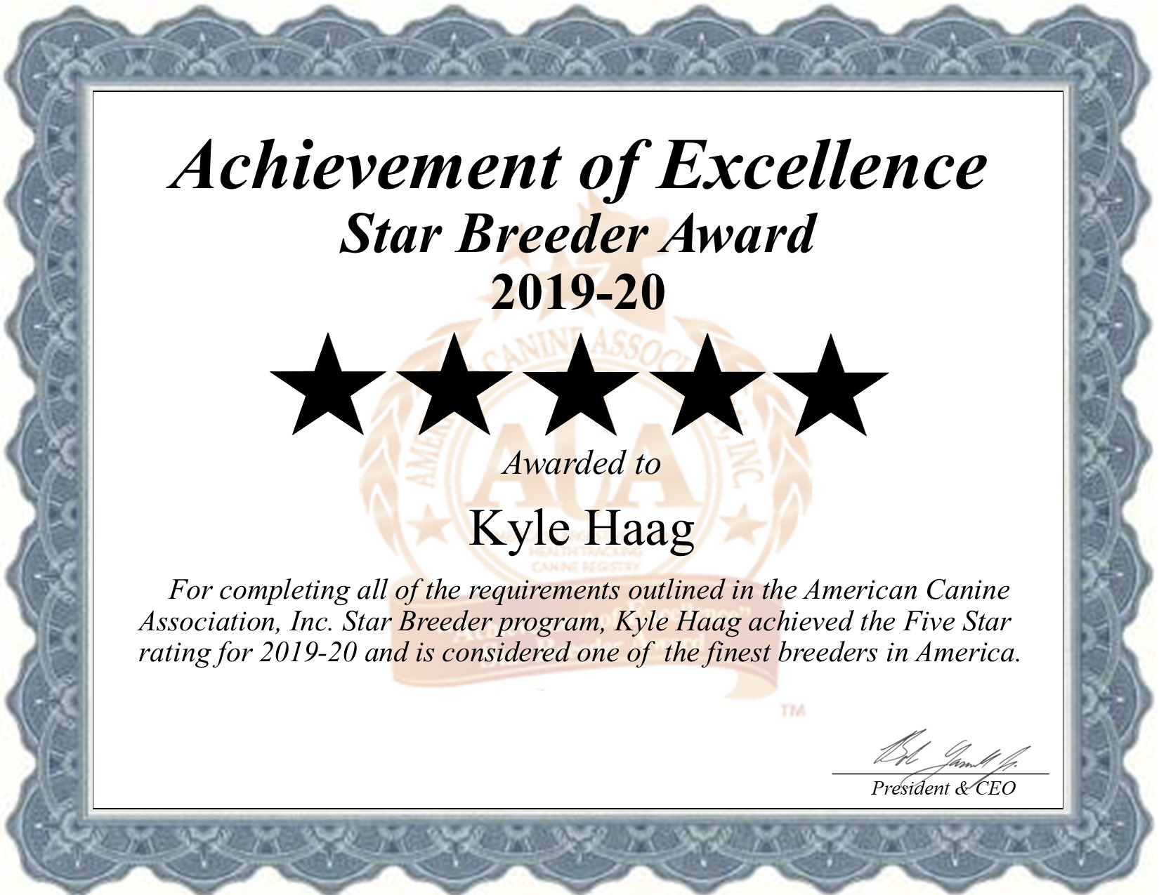 Kyle, Haag, dog, breeder, certificate, Kyle-Haag, puppy, dog, kennels, mill, puppymill, usda, 5-star, ACA, ICA, registered, show handler, king-charles, eden, valley, mn, minnesota, eden-valley, star