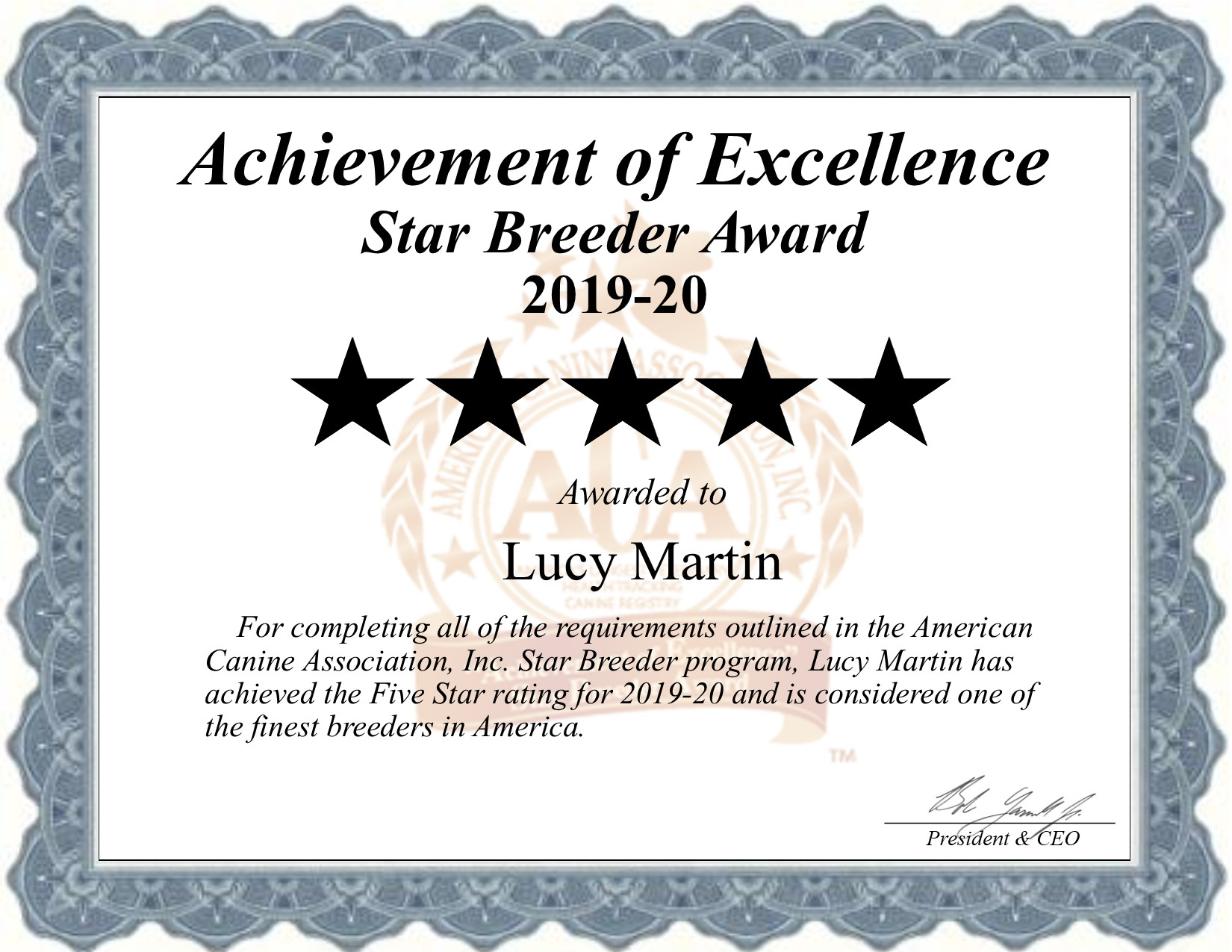 Lucy, Martin, dog, breeder, certificate, lucy-martin, dog-breeder, puppies, Martin Kennel, star, breeder, star-breeder, 5 star, USDA, Pennsylvania, PA, East Earl, dog, puppy, ACA, ica, 2016