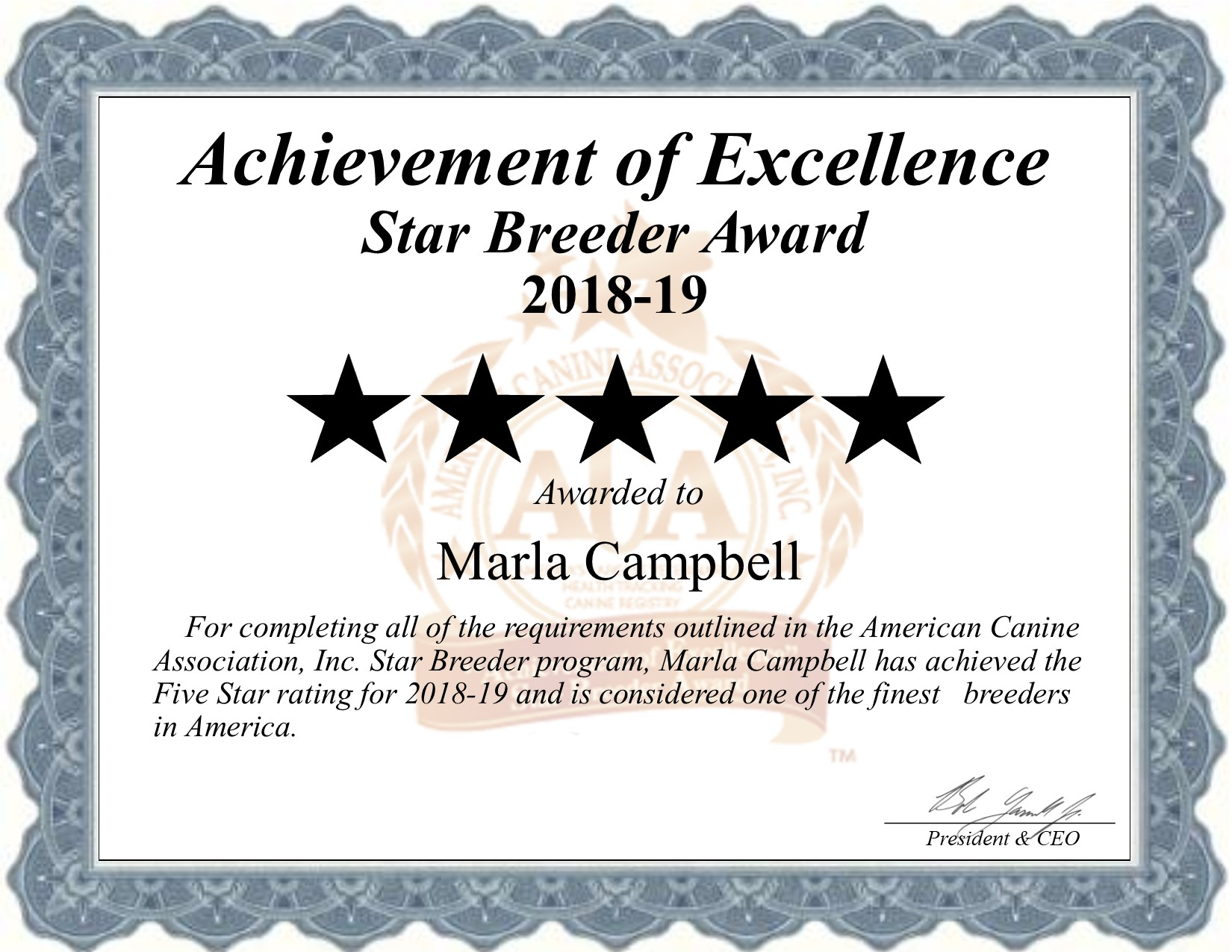 marla, campbell, dog, breeder, certificatge, marla-campbell, dog-breeder, newton, ks, kansas, usda, puppy, puppies, ACA, ICA