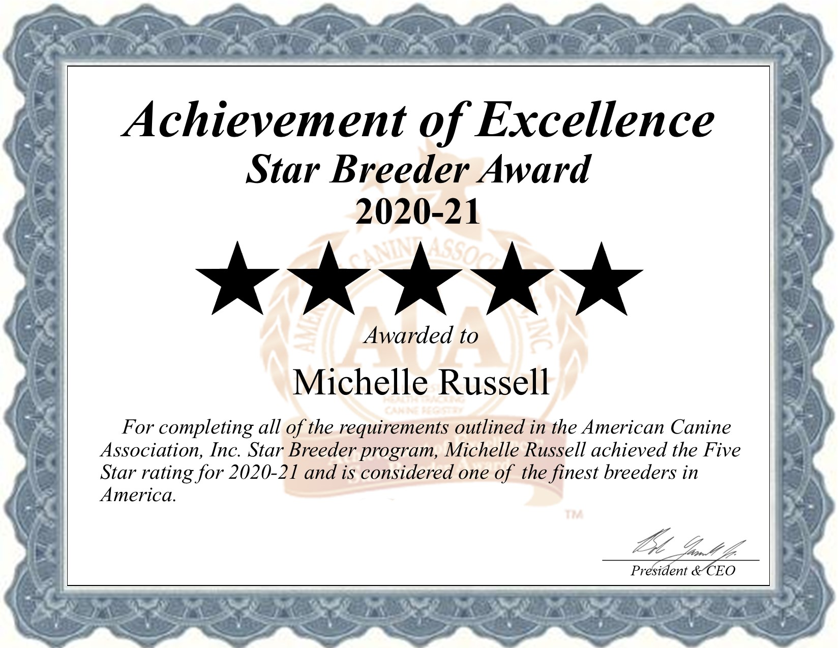 Michelle, Russell, dog, breeder, star, certificate, Michelle-Russell, Erie, KS, Kansas, puppy, dog, kennels, mill, puppymill, usda, 5-star, aca, ica, registered, french, bulldogs, frenchies, 48-A-1869, 48a1869