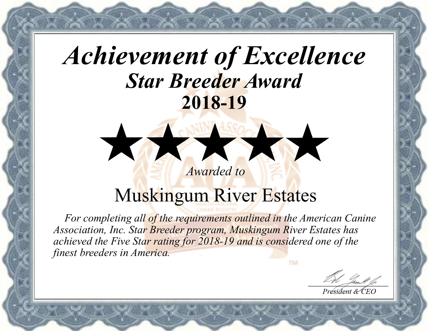 muskingum, river, estates, certificatre, millersburg, ohio, oh, kennel, kennels, muskingumriverestates, dog, breeder, about, information, history, background, reviews, rating, dogbreeder, puppy, usda