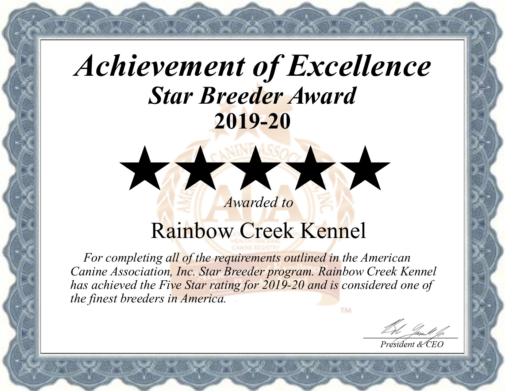 Rainbow, Creek, Kennel, certificate, rainbow_creek_kennel, rainbowcreeksouth, butler, ny, new york, breeder, dog, star star-breeder, starbreeder, 5 star, dogs, puppy, puppies, five star, kennels, ACA, American, canine, association, dogshow, shows, handler, new-york, puppymill, mill, commercial, professional, USDA