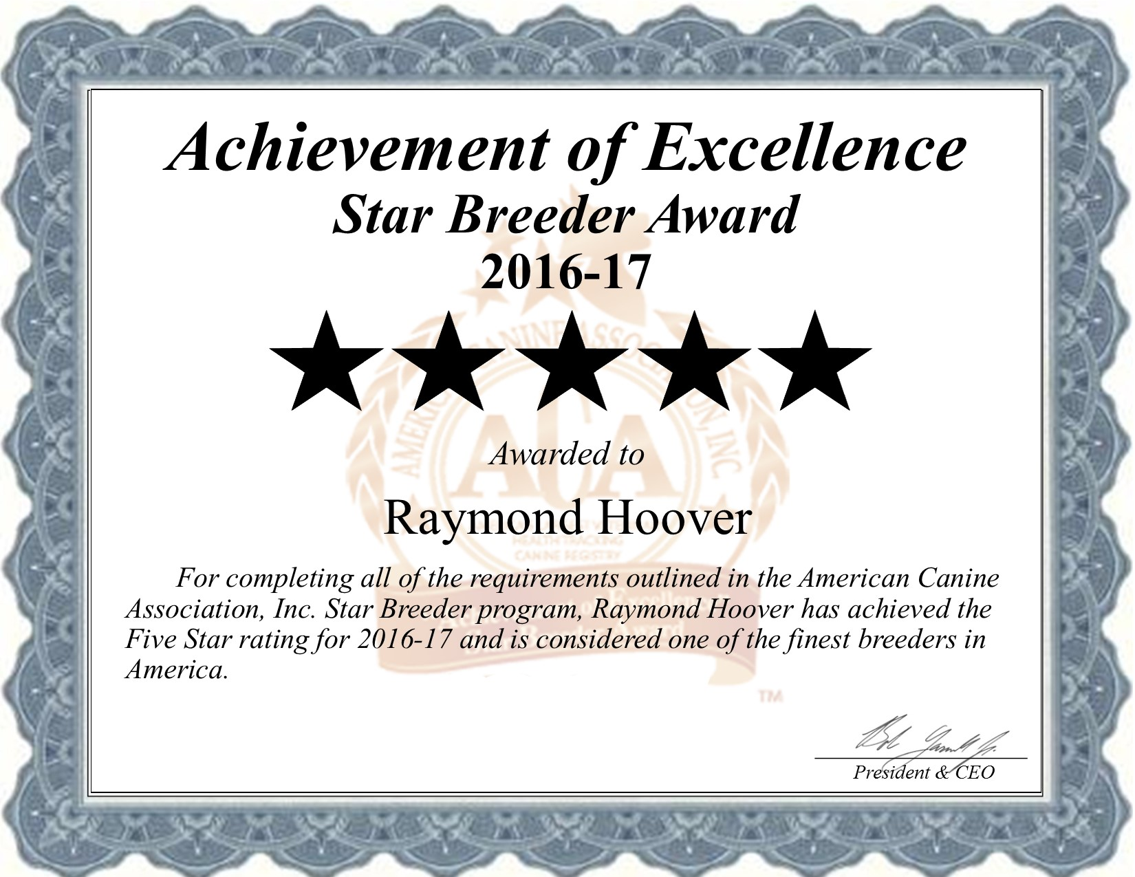raymond, hoover dog, breeder, certificate, raymond-hoover, dog-breeder, kennel, star breeder, star breeder, 5 star, dundee, ny, new-york, county, usda, puppy, puppies, ACA, ICA