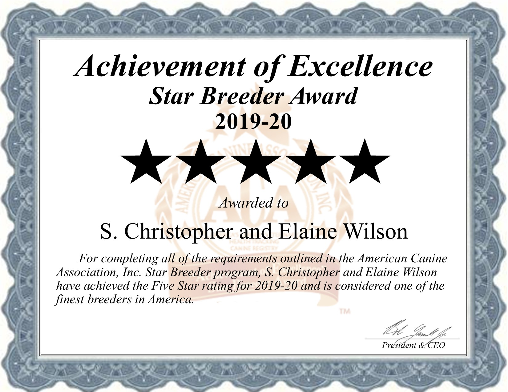 s, christopher, elaine, wilson, dog, breeder, certificate, christopher-wilson, elaine, dog_breeder, kennel, star breeder, star breeder, everton, mo, missouri, county, usda, puppy, puppies, ACA, ICA