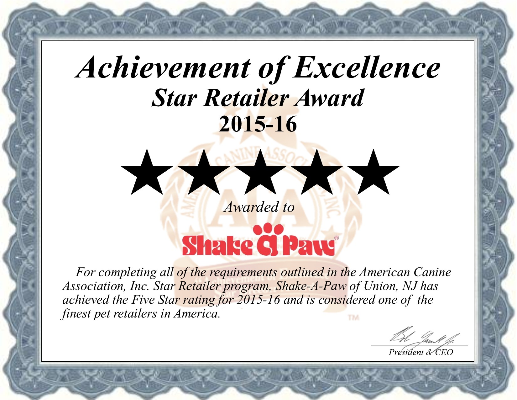 shake, a, paw, shake-a-paw, union, nj, new, jersey, pet, store, pet-store, star, retailer, certificate, puppy, mill, puppymill, five, star, retailer