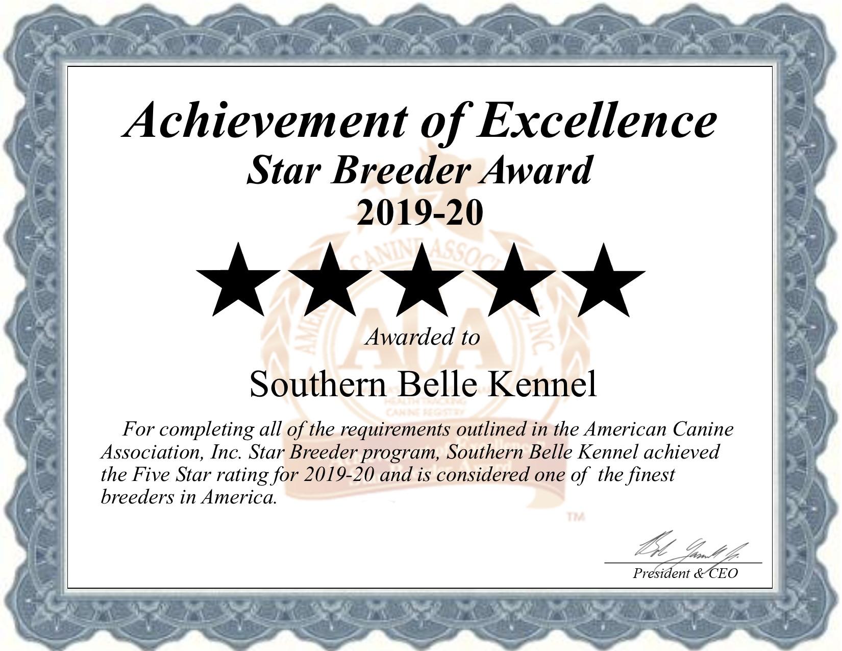southern, belle, kennel, dog, breeder, star, certificate, southern-belle, belle-kennel, broken, bow, ok, broken-bow, oklahoma, puppy, dog, kennels, mill, puppymill, usda, 5-star, ACA, ICA, registered, show handler, goldendoodles