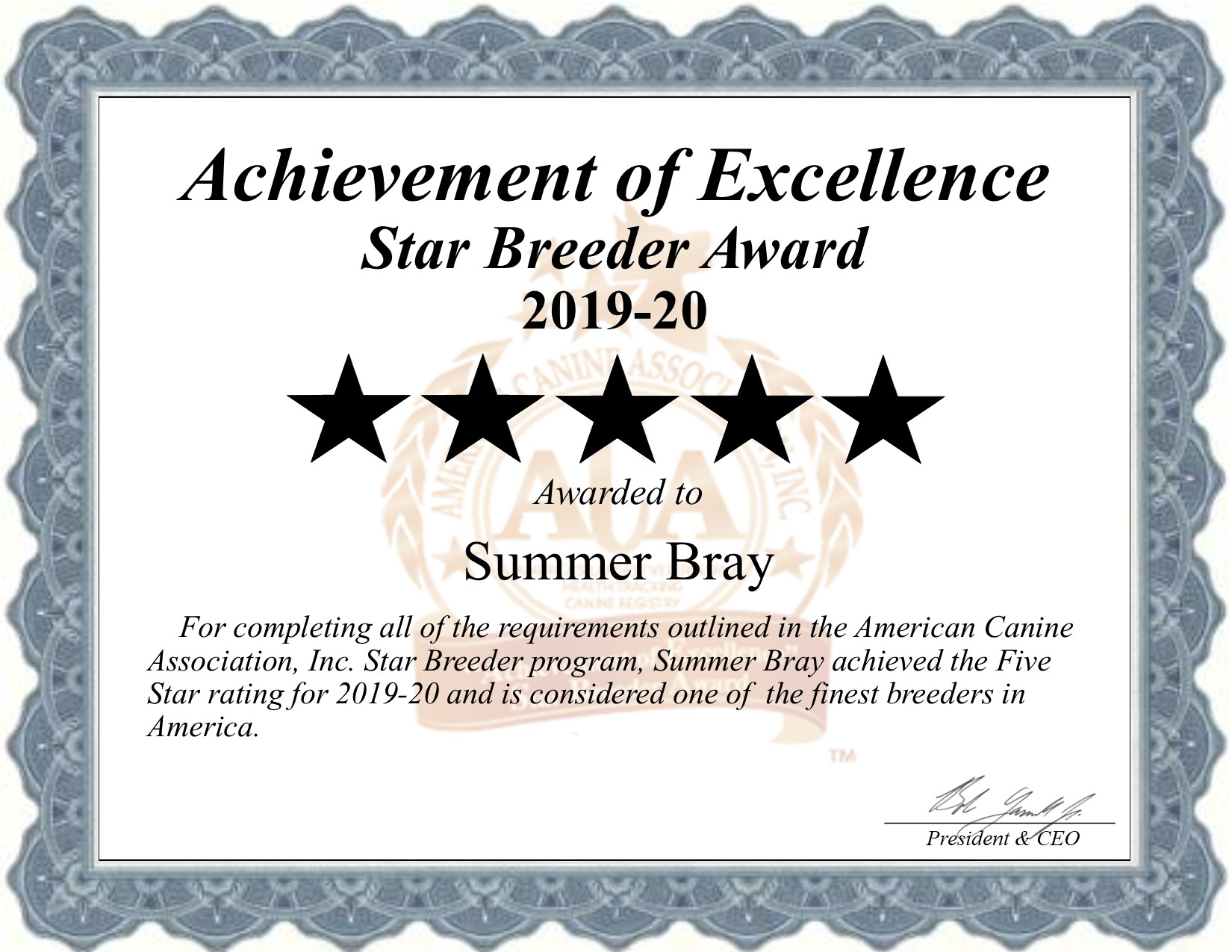 summer, bray, dog, breeder, star, certificate, summer-bray, dog-breeder, broken, bow, ok, broken-bow, oklahoma, puppy, dog, kennels, mill, puppymill, usda, 5-star, ACA, ICA, registered, show handler, goldendoodles;