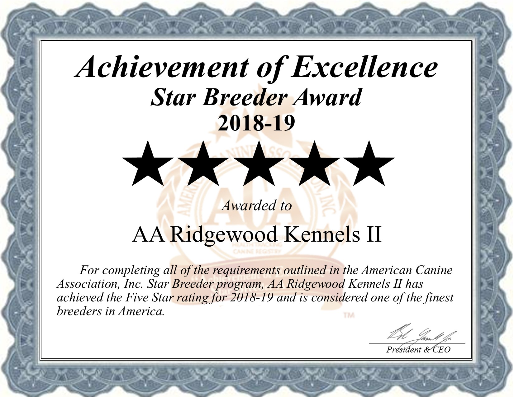 AA, Ridgewood, Kennels, II, certificate, dog, breeder, aa-ridgewood-kennels-ii, dog-breeder, gap, shrewsbury, pa, pennsylvania, usda, puppy, puppies, ACA, ICA, star, 5-star, ridge, wood, kennel