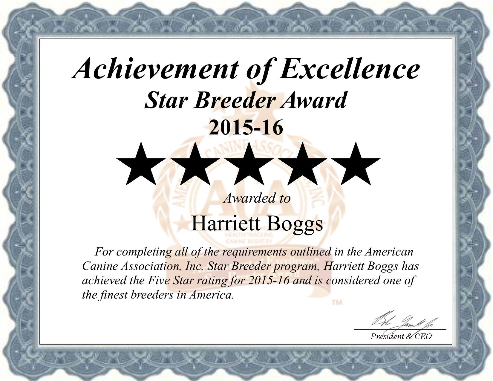 Harriett, boggs, dog, breeder, harriett-boggs, dog-breeder, Harriett Boggs, Boggs kennel, star, star breeder, 5 star, ACA, niangua, Missouri, MO, dogs, show, handler, puppy, puppies, five star, puppy mill, puppymill, professional, show breeder, starbreeders, champions