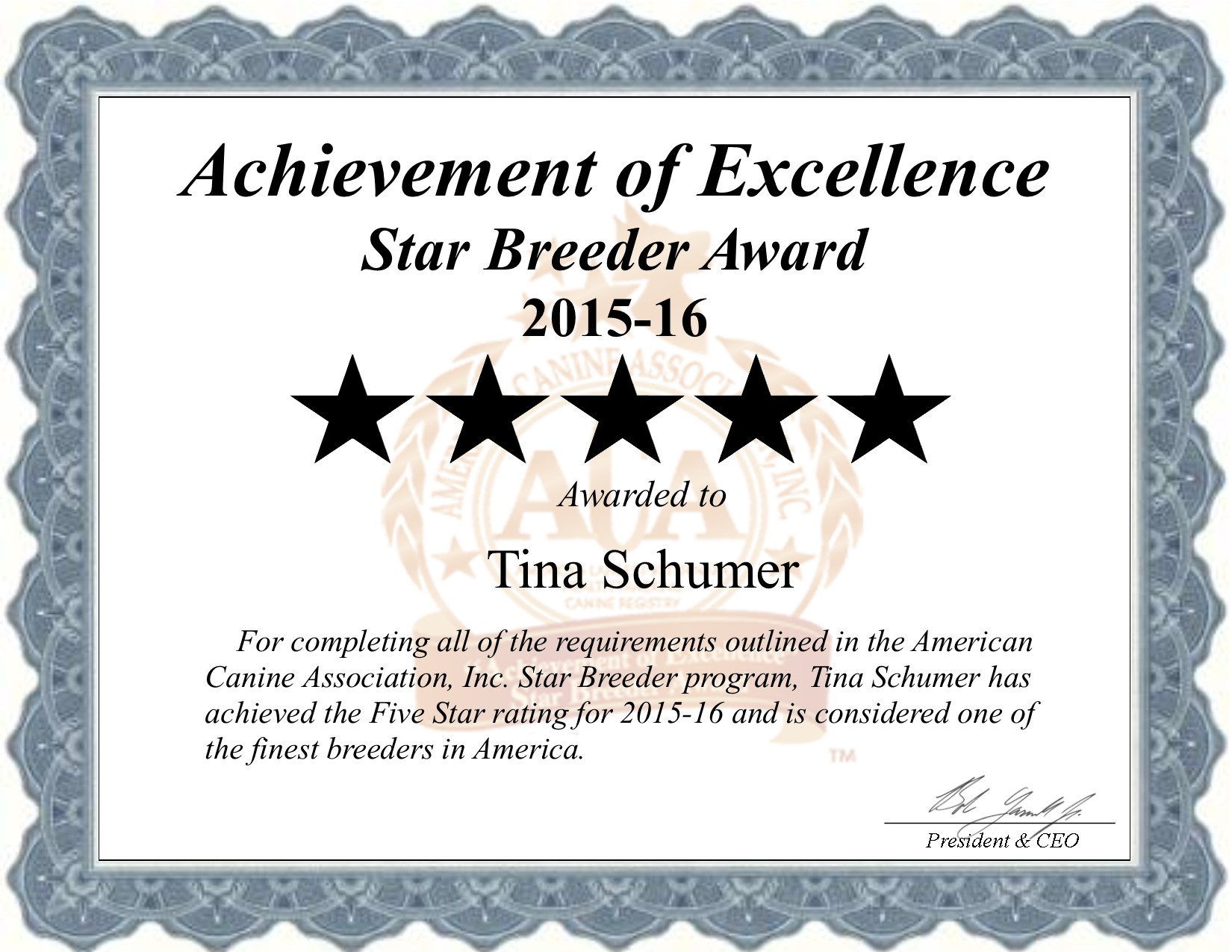 2015, award, Tina, Schumer, dog, breeder, tina-schumer, dog-breeder, Puxico, MO, pup, pups, puppies, USDA, Licensed, Inspected, license, number, kennel, puppies, litter, agriculture, department, dept, dogs, star, breeders, Puxico, county, Missouri, USA, loving, American, Canine, Association, program, ACA, breeding, application, registration, requirements, records, best, finest, achievement, excellence, health, shows, education, puppymill, breeder, mill, 5
