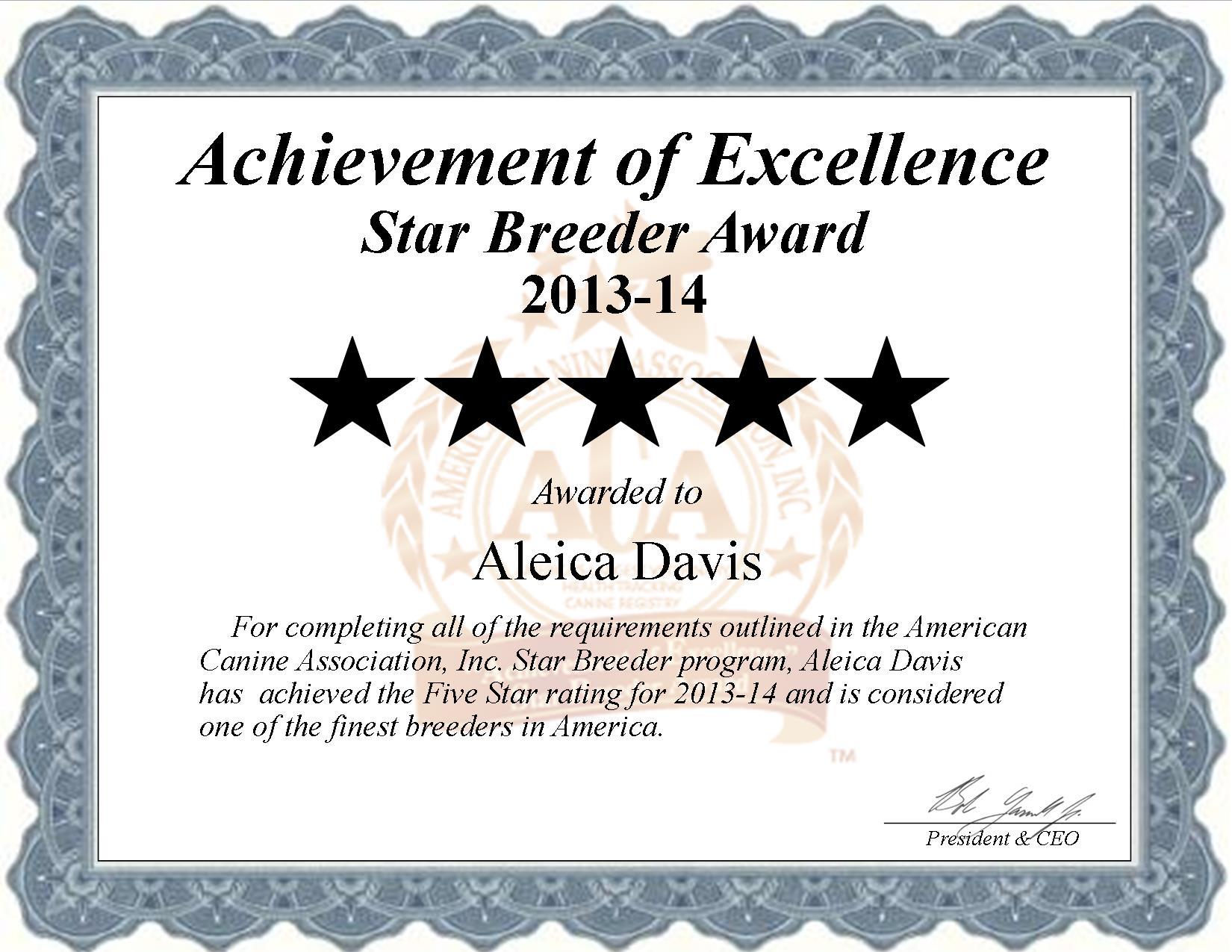 Aleica Davis, Aleica, Davis, Flacon, breeder, star breeder, star breeders, starbreeder, starbreeders, 5 star, Missouri, MO, dog, puppy, puppies