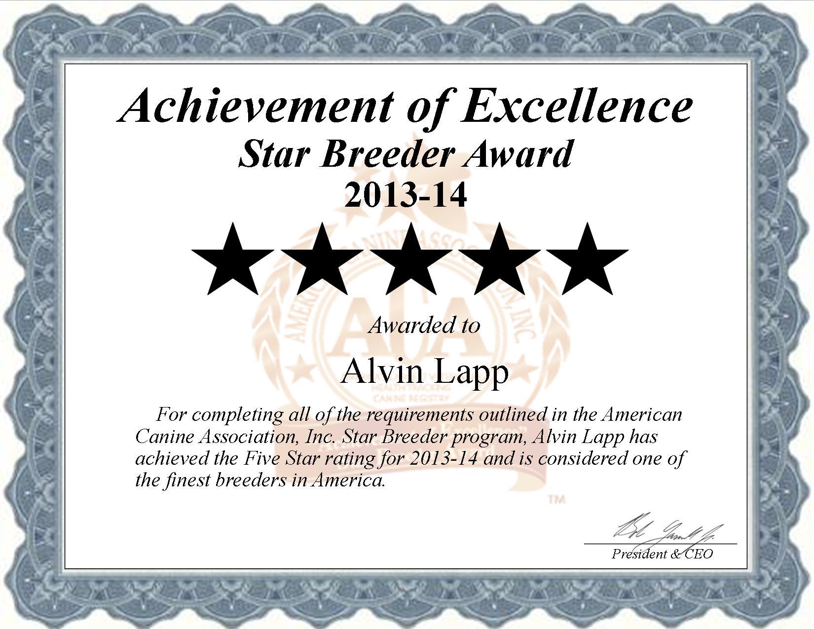 Alvin Lapp, Alvin, lapp, lapp Kennel, gap, pa, pennsylvania, breeder, star breeder, starbreeder, 4 star, dog, puppy, puppies, four star, kennel