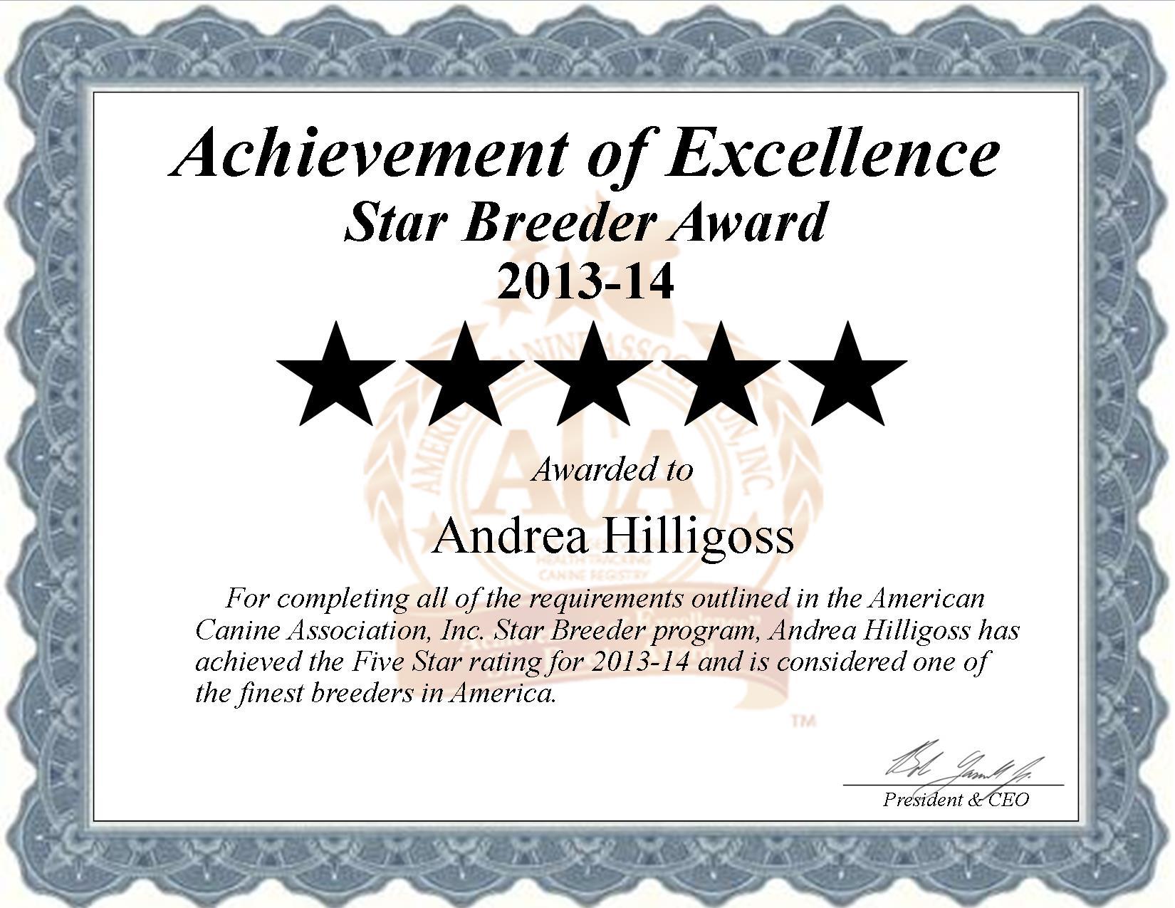 Andrea, Hilligoss, Andrea Hilligoss, Hilligoss Kennel, breeder, star breeder, aca, star breeder, 2 star, ketchum, oklahoma, ok, dog, puppy, puppies;
