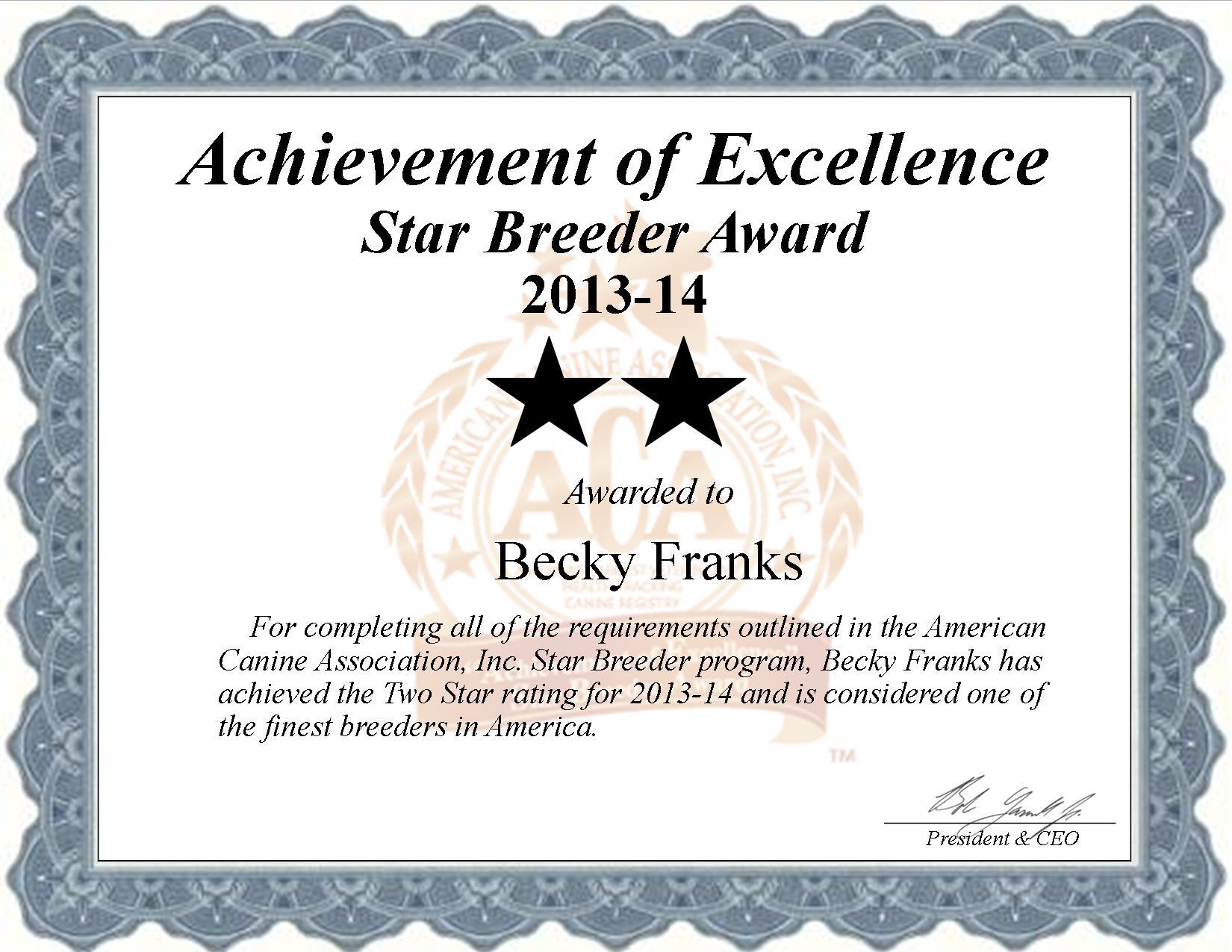Becky, Kennel, Becky Franks, Rebecca, Rebecca Franks, Guy, Guy Franks, Kennel, breeder, star breeder, aca, star breeder, 2 star, antlers, oklahoma, ok, dog, puppy, puppies, dog breeder, dog breeders, oklahoma breeder, Becky Franks dog breeder