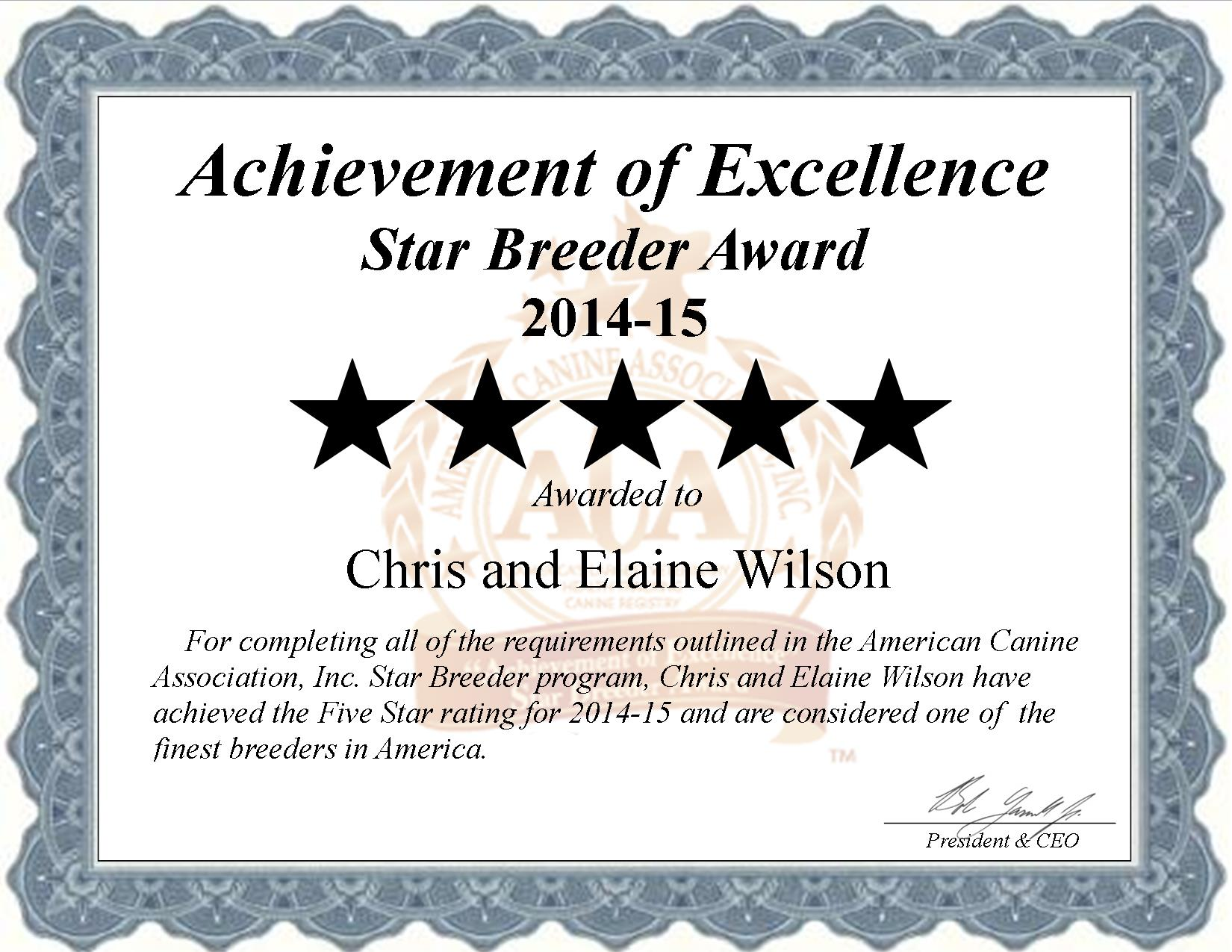 chris, elaine, wilson, dog, breeder, star, certificate, kennel, certification