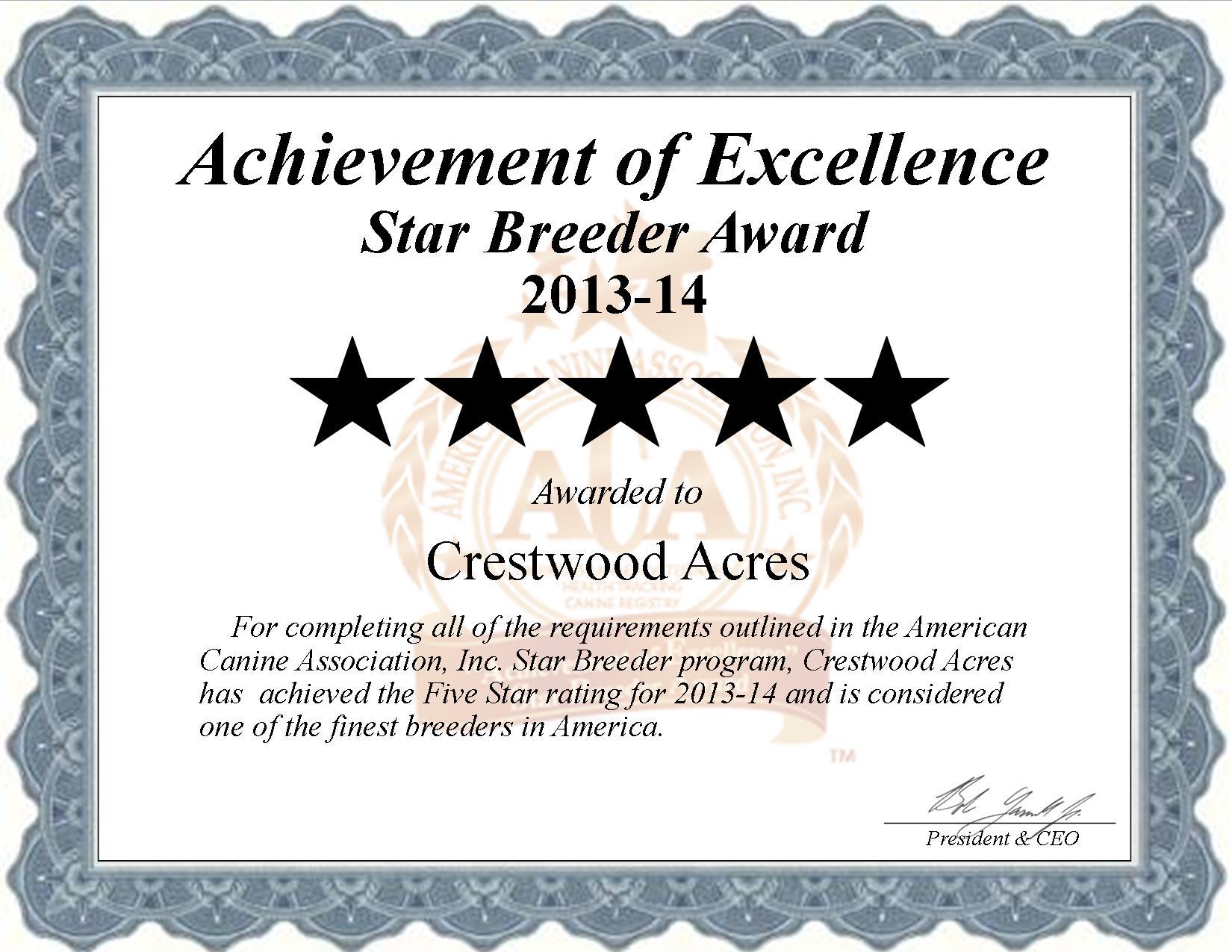 Crestwood Acres Kennel, Loretta Horning, Loretta, Horning, Horning Kennel, Crestwood Acres, crestwod, lyon, ny, new york, breeder, star breeder, starbreeder, 5 star, dog, puppy, puppies, five star