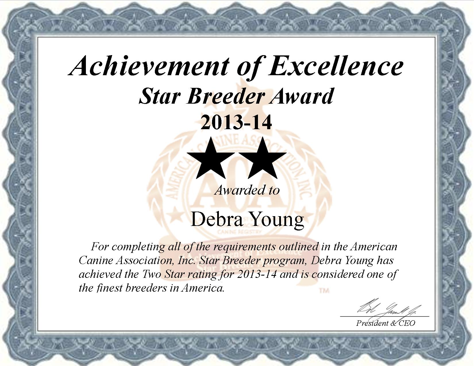 Debra Young, Young Kennel, Young dog breeder, star breeder, aca, star breeder, 2 star, Ashdown, Arkansas, AR, dog, puppy, puppies, dog breeder, dog breeders, Arkansas breeder, Debra Young dog breeder
