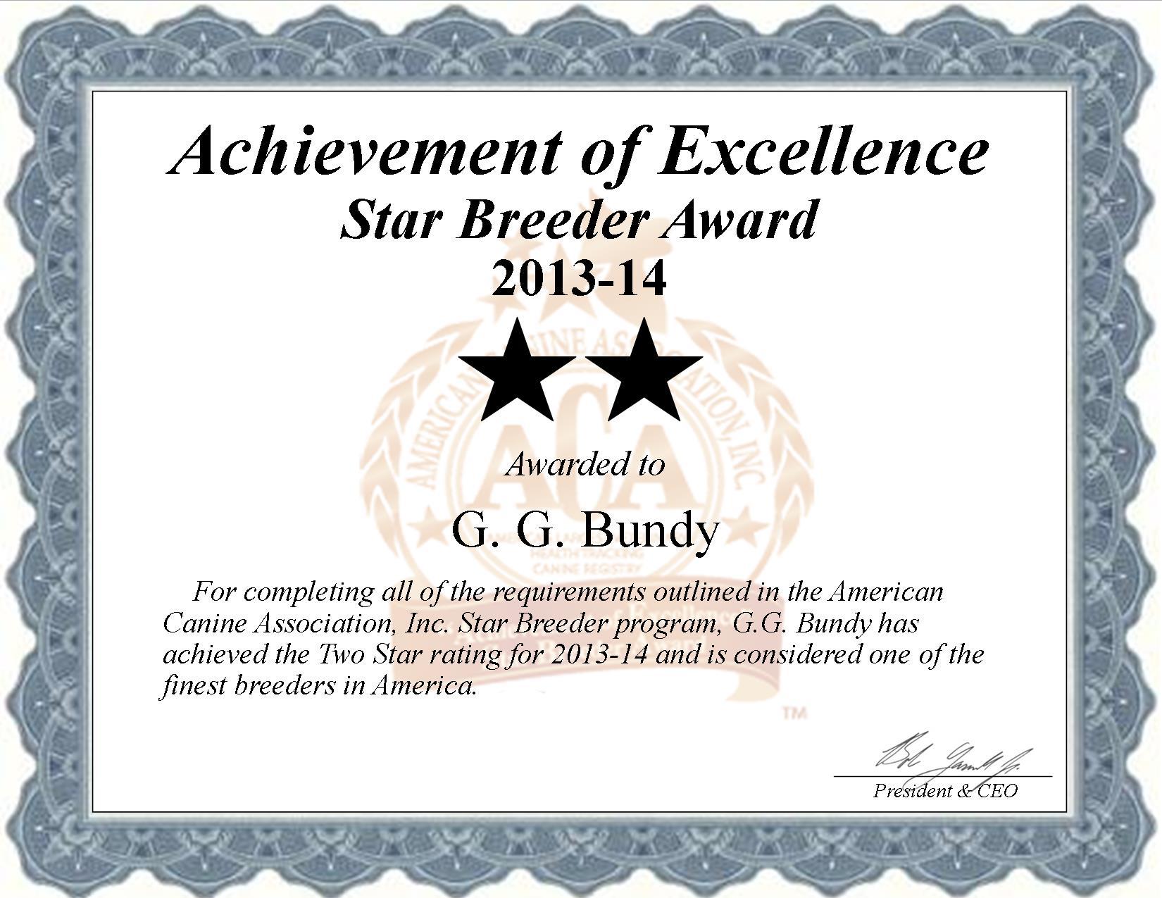GG, Bundy, GG Bundy, Bundy Kennel, breeder, star breeder, aca, star breeder, 2 star, shell knob, shellknob, Missouri, MO, dog, puppy, puppies