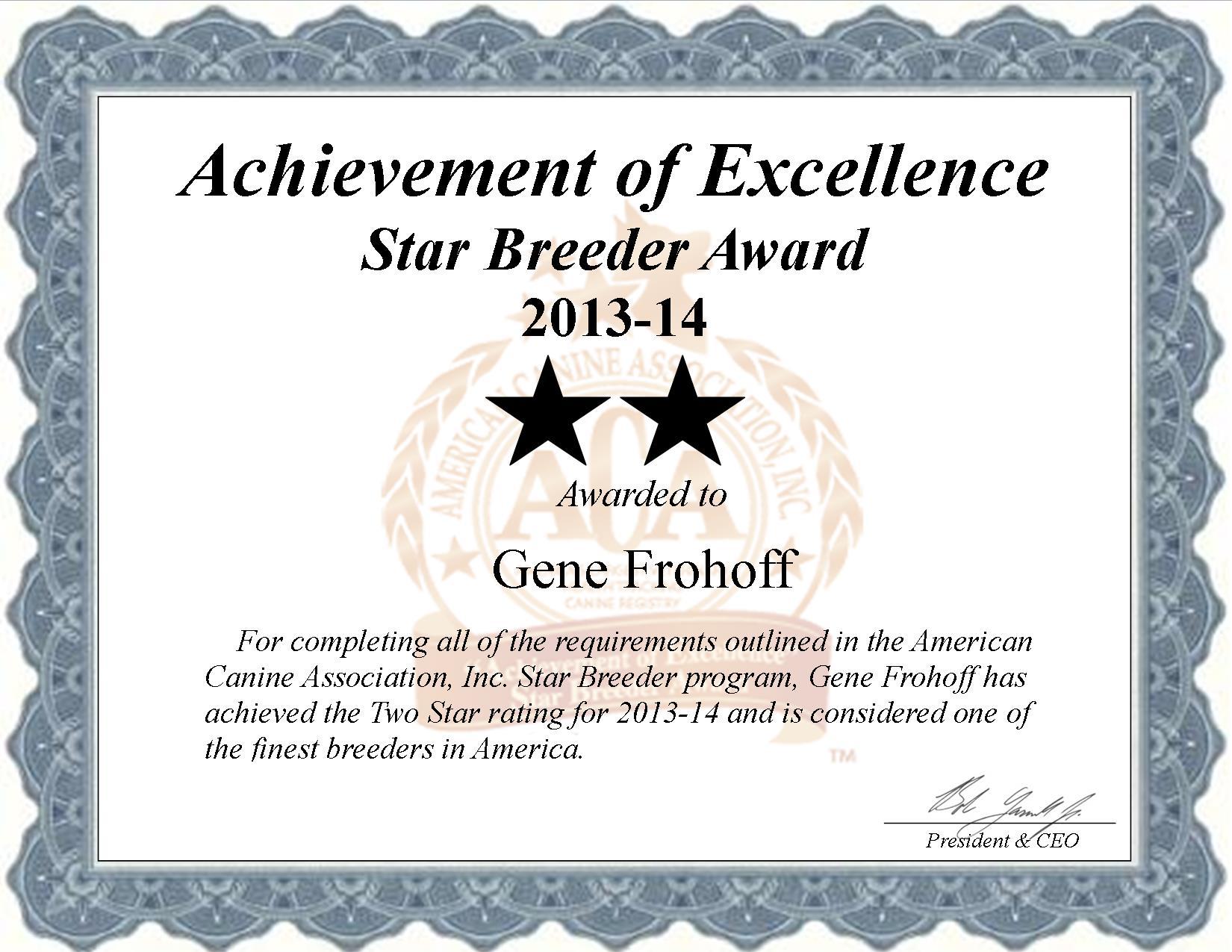 Gene Frohoff, Gene, Frohoff, Frohoff, Gene Frohoff breeder, Gene Frohoff dog breeder, star breeder, aca, star breeder, 2 star, Missouri, MO, dog, puppy, puppies, dog breeder, dog breeders, Missouri breeder, Gene Frohoff dog breeder