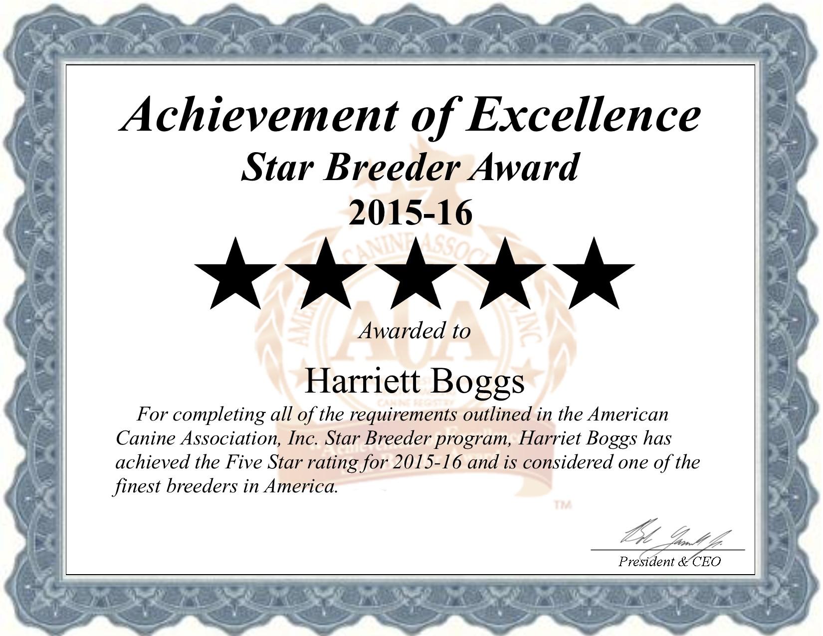 Harriett, boggs, dog, breeder, harriett-boggs, dog-breeder, Harriett Boggs, Boggs kennel, star, star breeder, 5 star, ACA, niangua, Missouri, MO, dogs, show, handler, puppy, puppies, five star, puppy mill, puppymill, professional, show breeder, starbreeders, champions