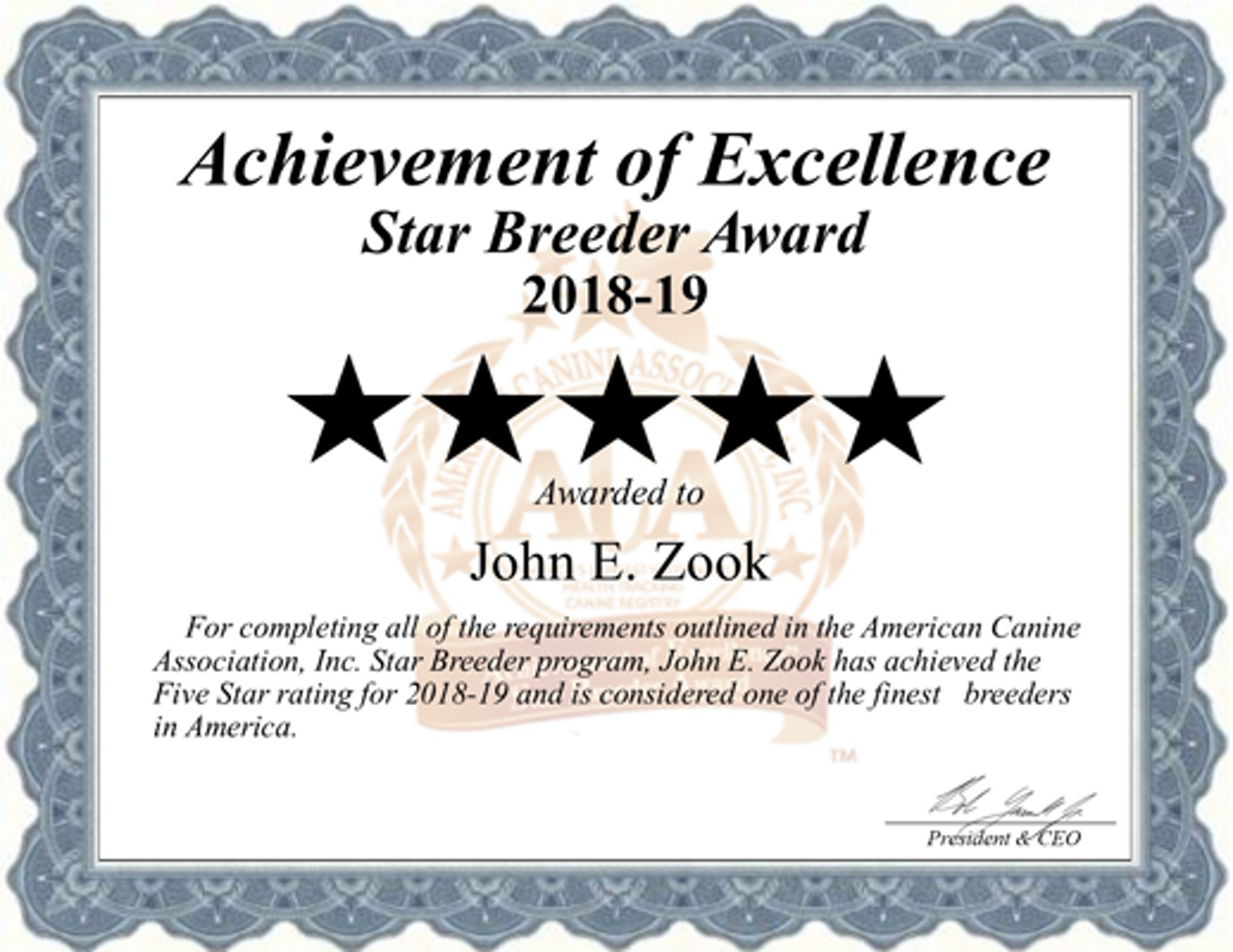 John E. Zook breeder, John E. Zook, John E. Zook Kennel, Esther, W, Zook, Star, Breeder Award, breeder, star breeder, aca, star breeder, 5 star, Stevens, Pennsylvania, PA, dog, puppy, puppies, dog breeder, dog breeders, Pennsylvania breeder, John E. Zook dog breeder