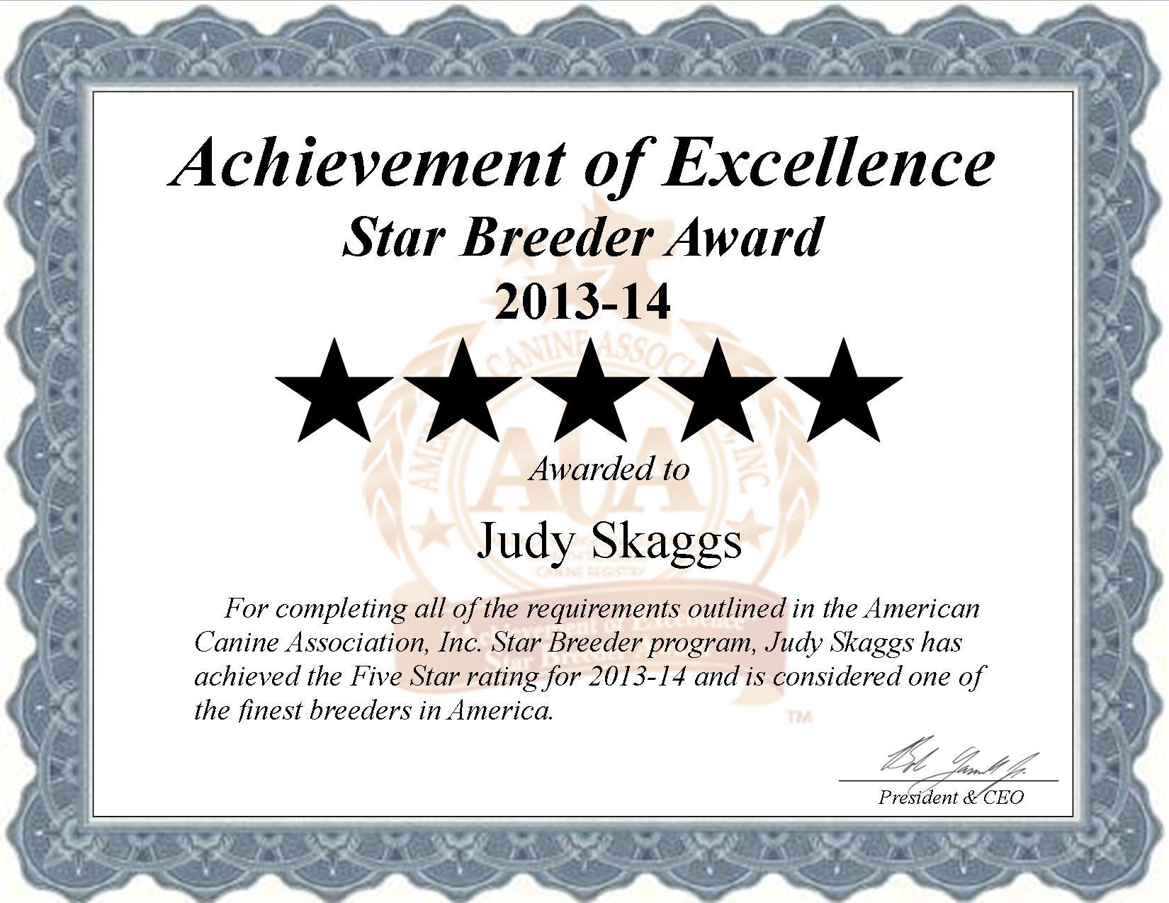 Judy, Skaggs, Judy Skaggs, Judy s. Skaggs, Skaggs Kennel, breeder, star breeder, aca, star breeder, 5 star, Langley, Oklahoma, OK, dog, puppy, puppies, dog breeder, dog breeders, Oklahoma breeder, Judy Skaggs dog breeder