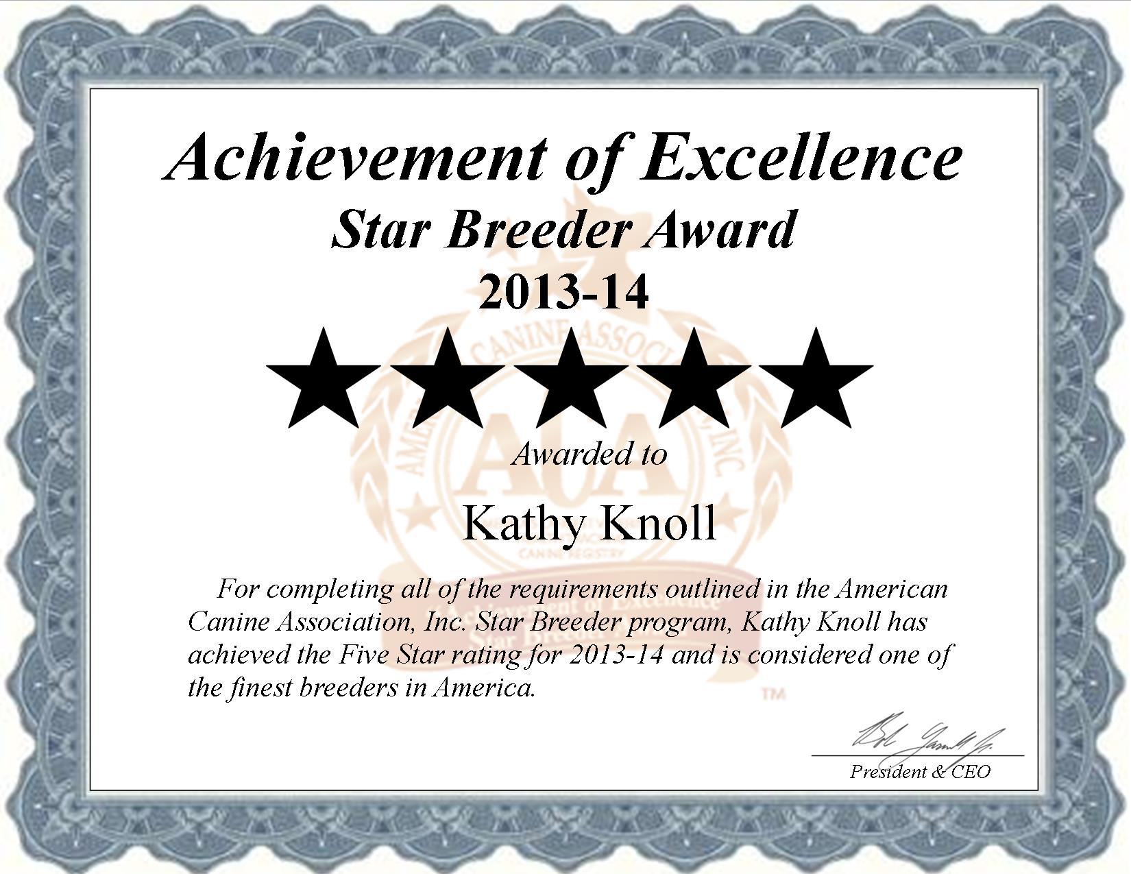 Kathy, Knoll, Kathy Knoll, Knoll Kennel, breeder, star breeder, aca, star breeder, 5 star, Novelty, Missouri, MO, dog, puppy, puppies, dog breeder, dog breeders, missouri breeder, Kathy Knoll dog breeder