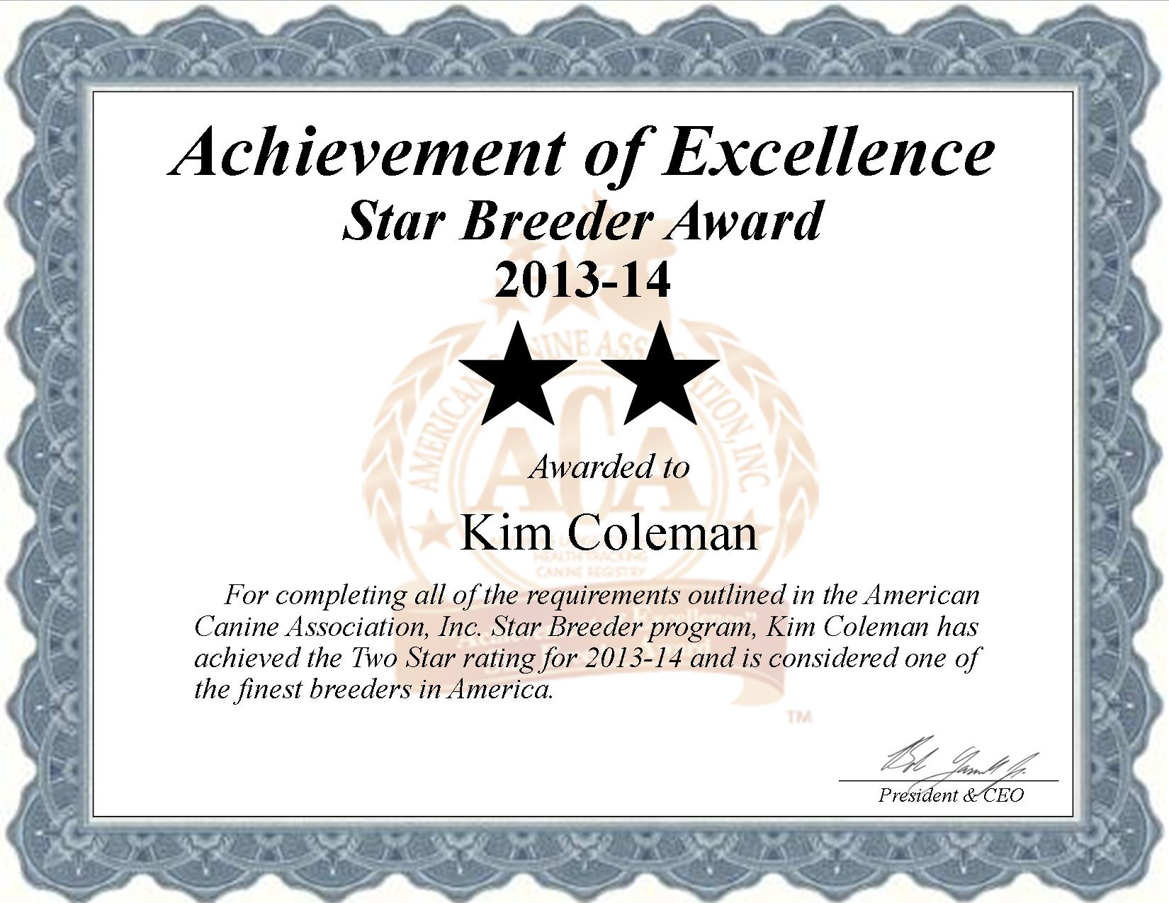 Kim Coleman, Coleman Kennel, Coleman dog breeder, star breeder, aca, star breeder, 2 star, kimberly, Backus, Minnesota, MN, dog, puppy, puppies, dog breeder, dog breeders, Minnesota breeder, Kim Coleman dog breeder