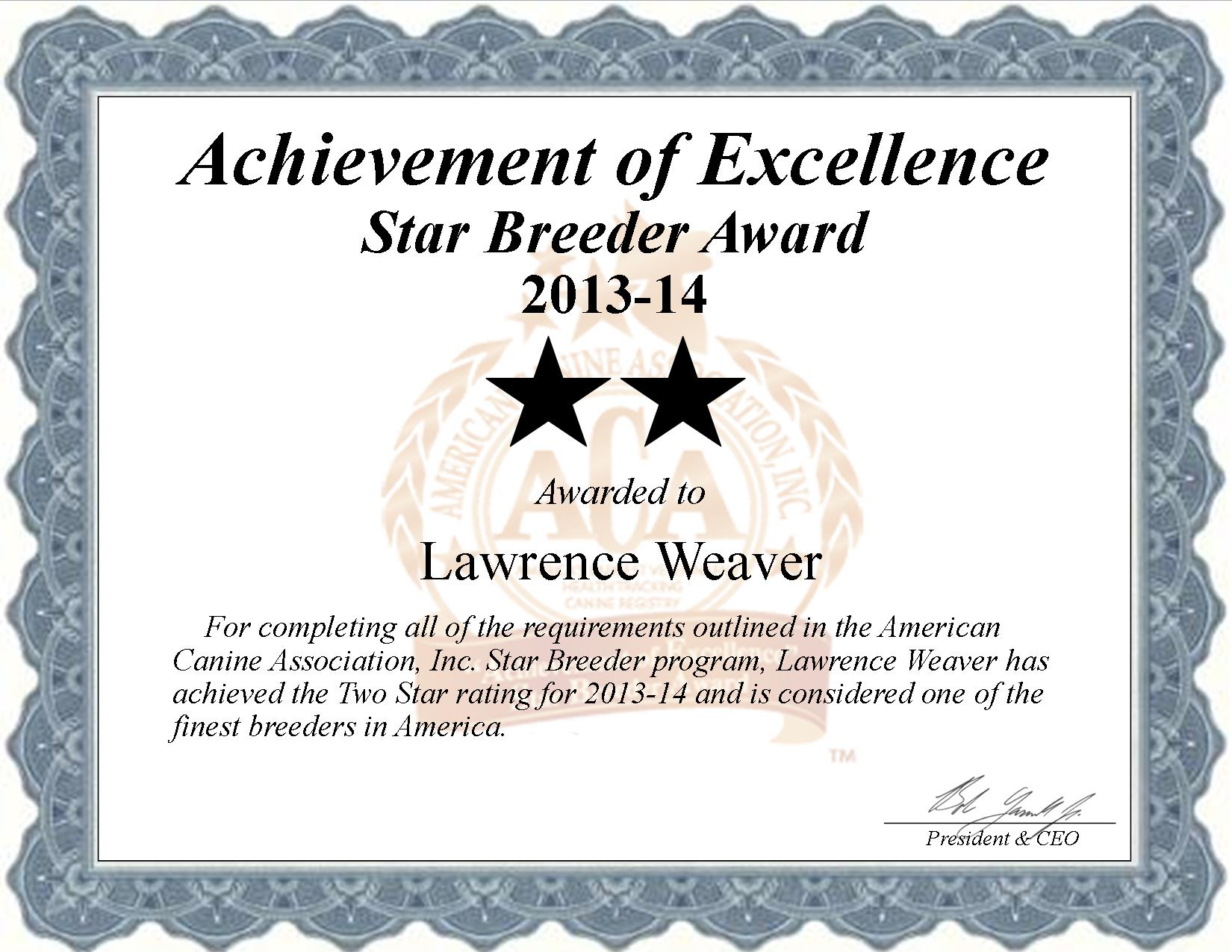 Lawrence Weaver, Weaver Kennel, Lawrence, Weaver, Weaver Kennel, Weaver, dundee, ny, new york, breeder, star breeder, starbreeder, 2 star, dog, puppy, puppies, five star