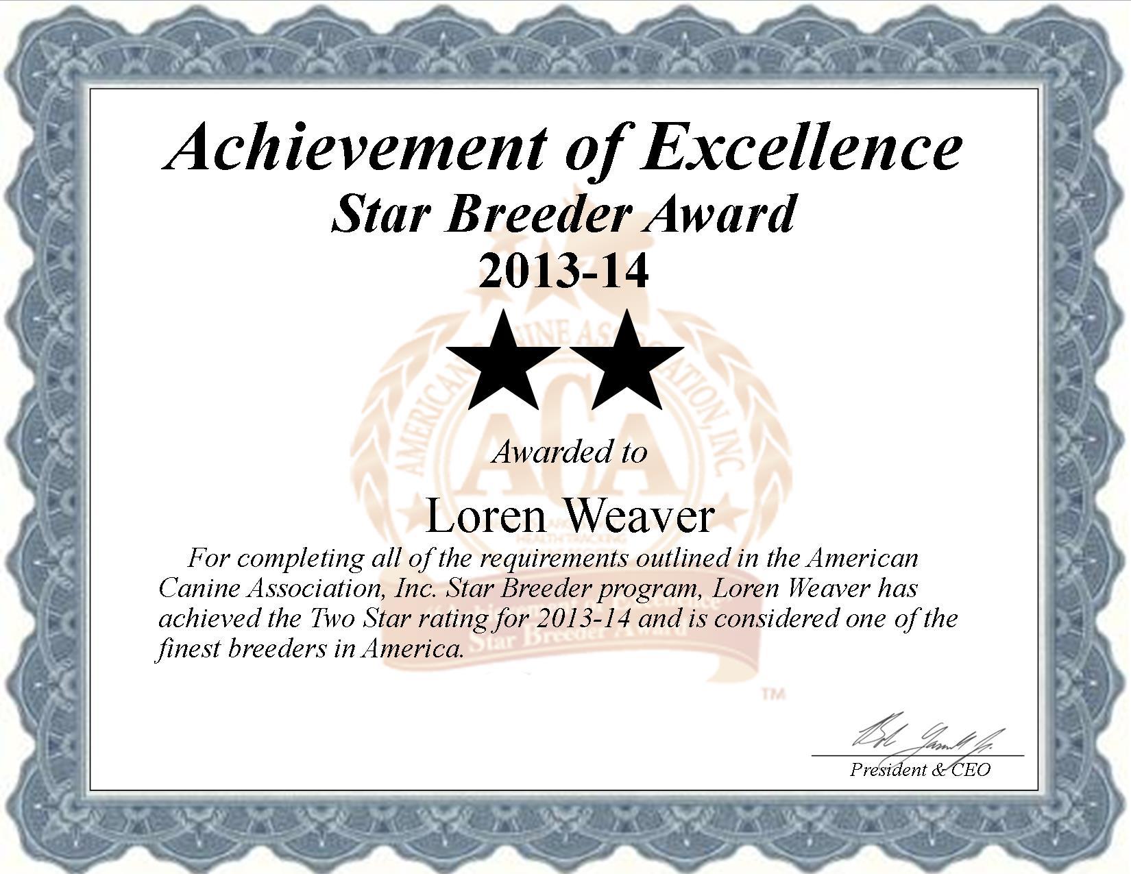 Loren Weaver, Loren, Weaver, Weaver kennel, Loren Weaver breeder, Dundee, NY New York, Dundee NY, breeder, star breeder, 5 star breeders,  starbreeder, starbreeders, 2 star, dog, puppy, puppies