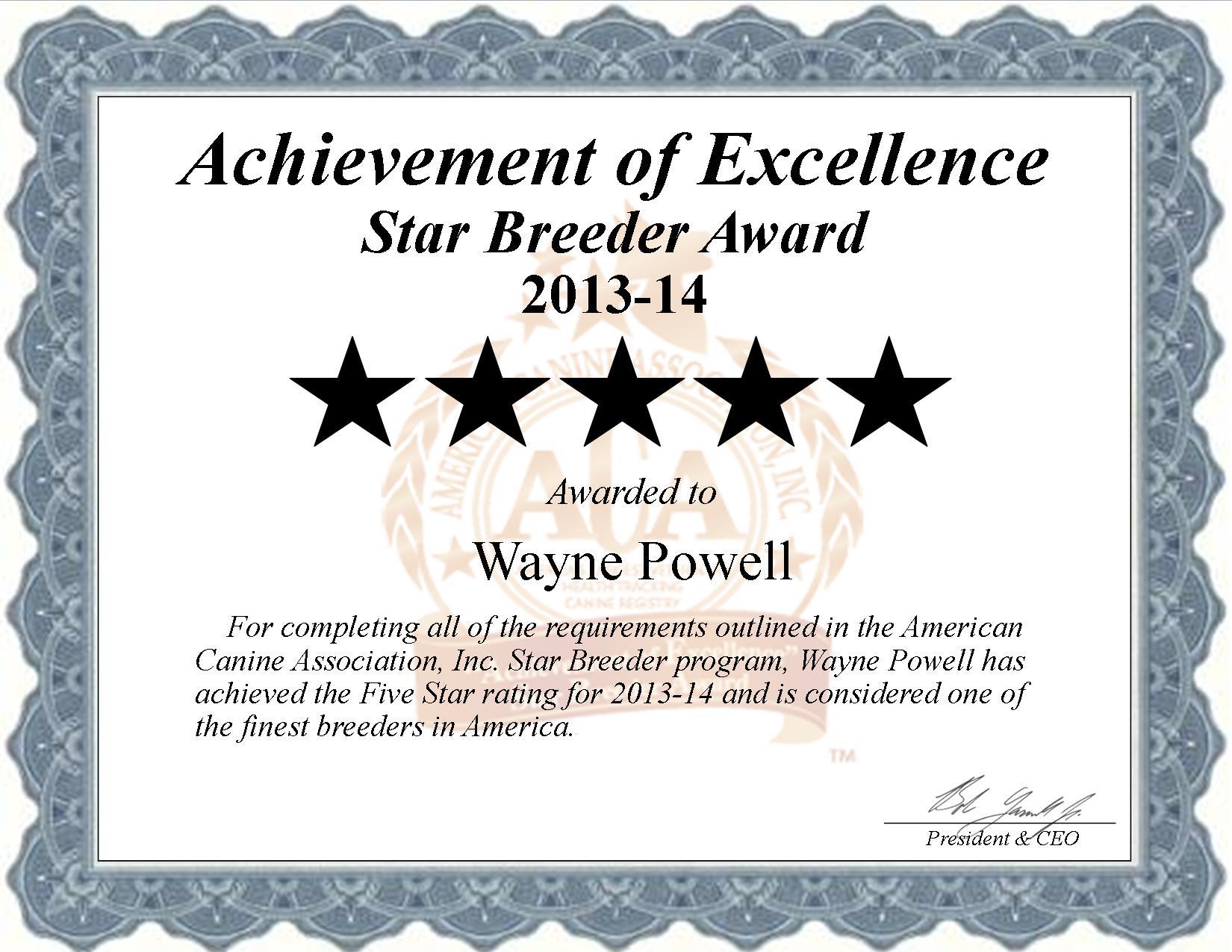 Wayne, Powell, Wayne Powell, Powell Kennel, breeder, star breeder, aca, star breeder, 5 star, oxly, Missouri, MO, dog, puppy, puppies;